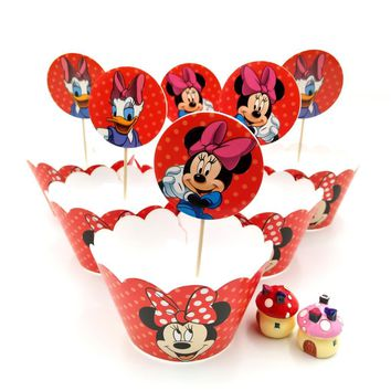 24pcs Disney Baby Shower Kids Favors Mickey Mouse Decoration Cupcake Paper Wrappers Toppers Happy Birthday Party Supplies