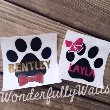 "4"" Dog Puppy paw print decal with bowtie or bow"