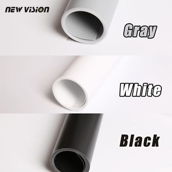 Free Shipping Black Gray White  PVC Photo Photography Studio Lighting Backdrop Background Cloth 68cm*130cm three kinds of color