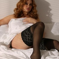 Plus Size Lingerie | Plus Size Hosiery | Extra-Wide Lace Band Stay-Up Thigh Highs | Hips & Curves