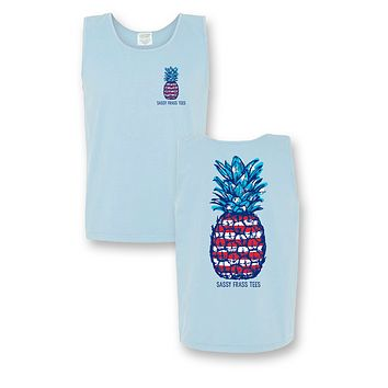 Sassy Frass Fireworks USA American Pineapple Comfort Colors Girlie Bright T Shirt Tank Top