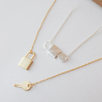 key lock necklace in gold or silver, bridesmaid necklace, love lock necklace