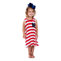 Toddler Striped Aline Dress, Red