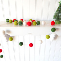 Christmas Garland, Christmas Felt Ball Garland, Pom Pom Garland, Christmas Decor, Christmas Tree Garland Mantel Decor Holiday Decor, Vintage