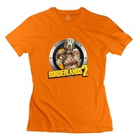 Women Borderlands 2 Design 100% Cotton Orange Tee By Mjensen