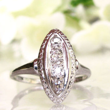 Marquise Shaped Vintage Engagement Ring 14K White Gold Petite Old Cut Diamond Wedding Ring Navette Diamond Promise Ring Size 6