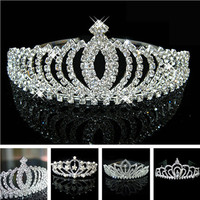 New design Romatic crown tiara elegant peach heart rhinestone crystal hair jewelry luxury bride wedding party well