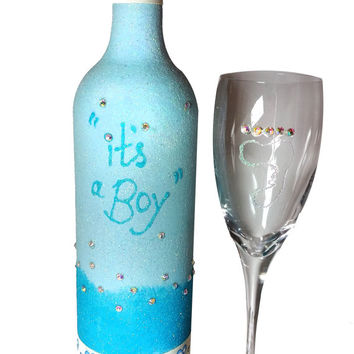 New baby Gift set, Baby Boy Gift set, Wine glass & Wine bottle candle holder....ONE OF A KIND