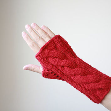 PRE-FALL SALE - Red Hand knit gloves, Red fingerless gloves, Knit fingerless glove, Fingerless hand warmer women