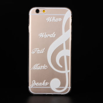 """When Words Fail Music Speaks"" Ultra Soft TPU Transparent Music Symbol Design Phone Case Cover Shell For iPhone 6 6s 4.7"" Inch"