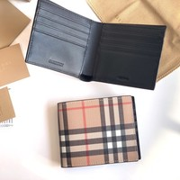 Kuyou Gb1986 Burberry 80166211 Vintage Check E-canvas Wallet With Id Card Case 11cm*10cm