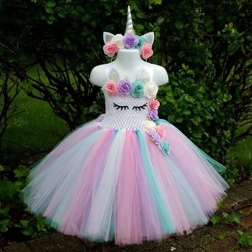Kids Girls Unicorn Tutu Dress Knee-Length Pastel Rainbow Flower Girl Birthday Party Dress Up Fancy Halloween Unicorn Costume