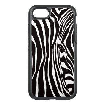 Zebra Print Black and White Stripes Hand Drawn OtterBox Symmetry iPhone 7 Case