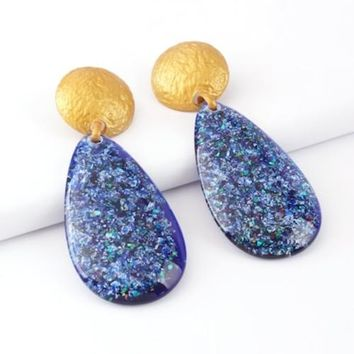 Glitter Waterdrop Stone Drop Earrings