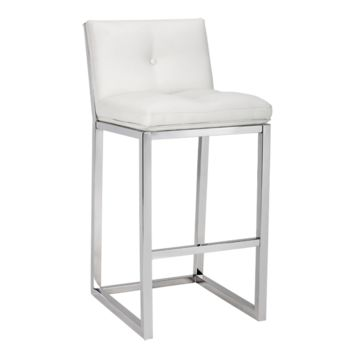 UMBERTO BAR STOOL - WHITE LEATHER