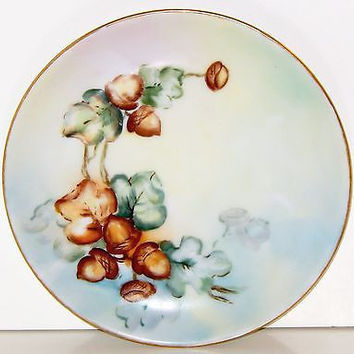 "Selb Bavaria Hutschenreuther Porcelain Plate Dessert Antique 6"" Acorns Leaves"