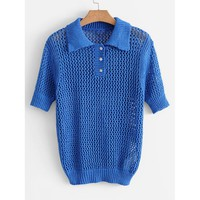 Open Knit Polo Jumper