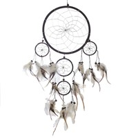 "Dream Catcher ~ Handmade Traditional Black, White & Silver 9"" Diameter 20"" Long!"