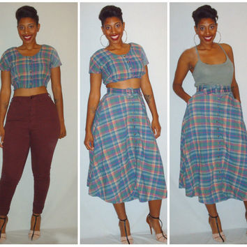 Vintage 1980s Plaid Dress Skirt Shirt