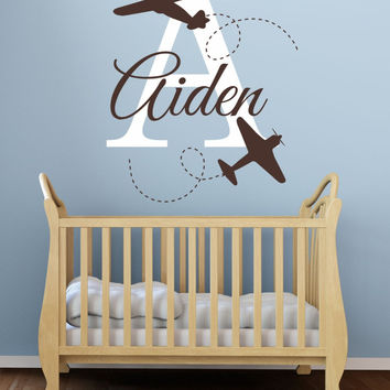 Personalzied Boys Name Initial and Name Airplane Wall Sticker DIY Home Decoration Decal for Kids Nursery Room D-94