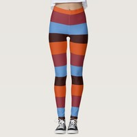 Brown, Orange & Blue Stripes leggings