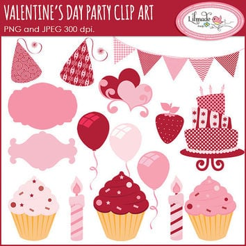 Valentine clip art, Valentine's Day party clip art, cake clip art, birthday clip art, candle clipart, digital labels, cupcake clipart,  P105
