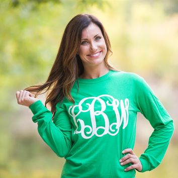 Long Sleeve Large Monogram Tee in 10 Colors - Size S-2X!!