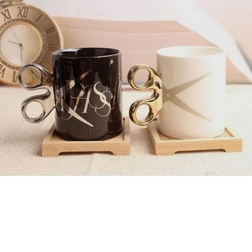 Ceramic mug coffee cup creative scissors cup with handgrip drinkware mug party decor gifts