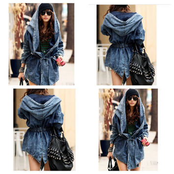 Fashion Hooded Long Sleeves Denim Long Jacket