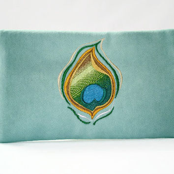 Teal Clutch Zipper Wallet With Embroidered Peacock Design Zippered Wallet IPhone Wallet Peacock Makeup Clutch Peacock Wallet