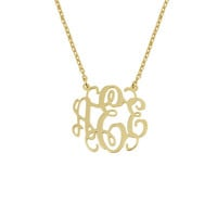 18k gold monogram necklace14 inch chain16 by mymonogramdesign