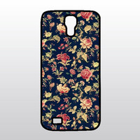 Floral Chintz Samsung Galaxy S4 Case - Pink Roses w/ Dark Blue - Gift for Her