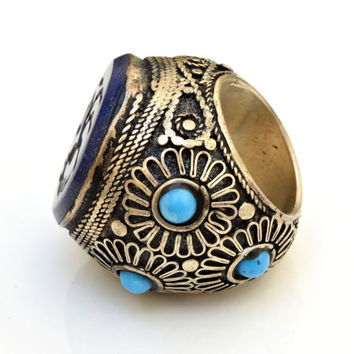 Lapis Stone Ring,Turkish Ring,Ethnic Tribal Ring,Antique Jewelry,Dragon Carved Ring,Kuchi,Bohemian Ring,Boho Gypsy Ring,Festival Hippie Ring