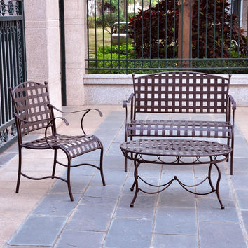 3 Piece Wrought Iron Patio Furniture Lounge Seating Group Set