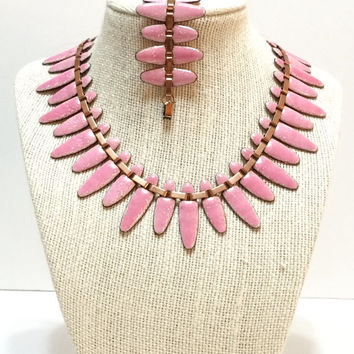 Copper Necklace & Bracelet Set, Matisse Nefertiti Necklace, Pink Enamel, Cleopatra Collar, 1950s, Statement Jewelry, Vintage Jewelry