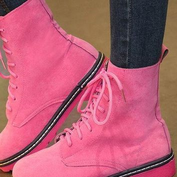 Wow Pink,Purple & Black Faux Suede Boots - Limited Sizes