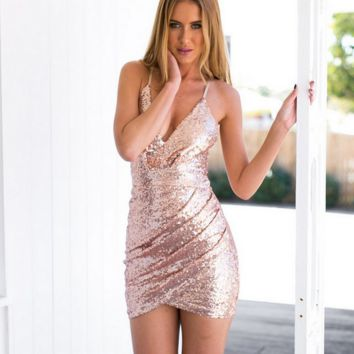 Sequins v-neck package buttocks tight dress