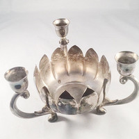 Vintage Silver Plate, Lotus Candelabra, Candle Centerpiece, Candleholder, International Silver Company, Home Decor, Accent Piece