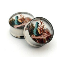 Alice in Wonderland Picture Plugs gauges by mysticmetalsorganics