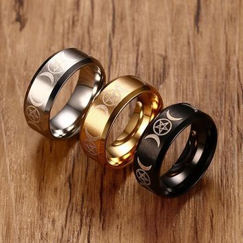 Men's Triple Goddess Pentacle Ring for Men Stainless Steel Crescent Moon and Pentagram Male Jewelry in Gold Silver Black Anel