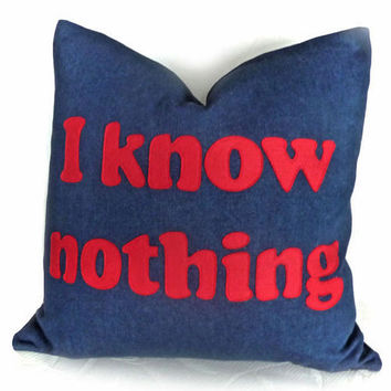 Word Text Pillow, Unique, Funny, Man Cave Pillows, I KNOW NOTHING, Kids, Teenager, Guy Gift, Toss Cushion Cover, Sofa Couch Accent 20x20