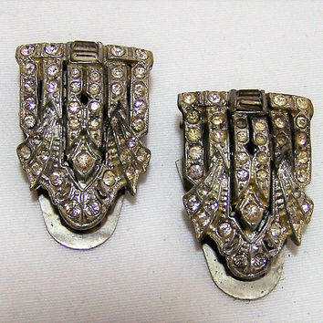 Art Deco Crystal Rhinestone Shoe Clips, Silver Tone Setting, Vintage Bridal Wedding Accessory, Costume Jewellery 317