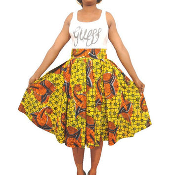 African Print Pleated Skirt - Ankara Skirt