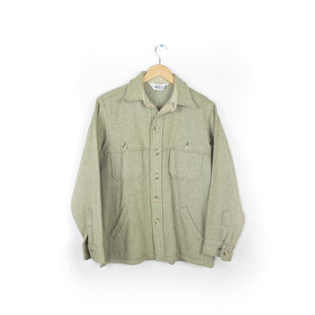 VIntage Woolrich 1960s 60s Thick Wool Flannel Shirt / cream gray green / solid color  / Mens small - medium