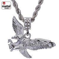 "Jewelry Kay style Men's 14K Gold Plated Iced Out Eagle Pendant 24"" Rope Chain Pendant Necklace Set"
