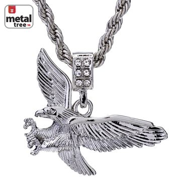 """Jewelry Kay style Men's 14K Gold Plated Iced Out Eagle Pendant 24"""" Rope Chain Pendant Necklace Set"""