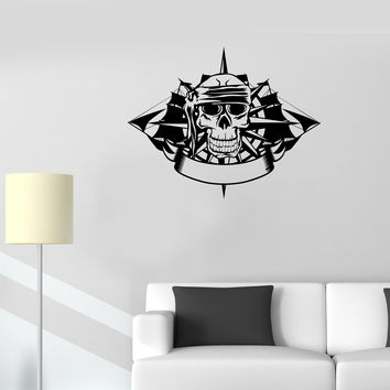 Wall Decal Pirate Skull Ship Skeleton Sea Ocean Captain Sailor Vinyl Sticker Unique Gift (ed675)