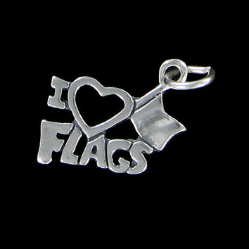 Sterling Silver 925 Solid I Love Flags Color Guard Charm