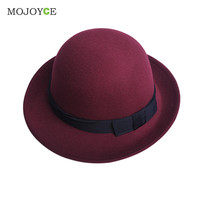 Fashion Women Fedora Jazz Bowknot Hard Felt Hats Wool Felt Wide Brim Bowler Hat Woollen Cloth Fedoras Caps For Women SN9