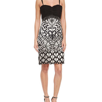 Women's Spaghetti Strap Sweetheart Embroidered Dress - Sue Wong - Ivory